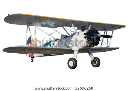 A grey bi plane isolated on white - stock photo