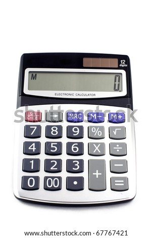 A grey calculator isolated on a white background - stock photo