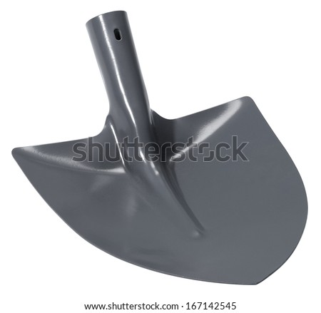 a grey shovel without handle in white back