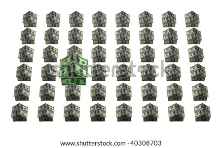 A grid of houses made out of 100 dollar American bills with one larger house representing more value or more expense - stock photo