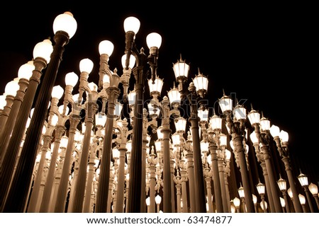 A grid of street lights - stock photo