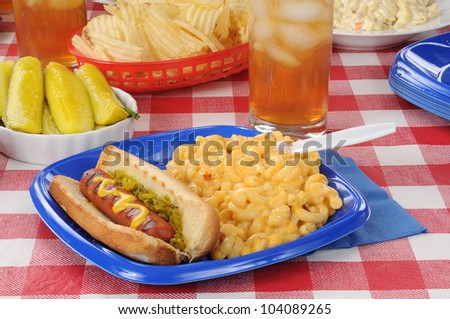 A grilled hot dog with macaroni and cheese on a picnic table - stock photo