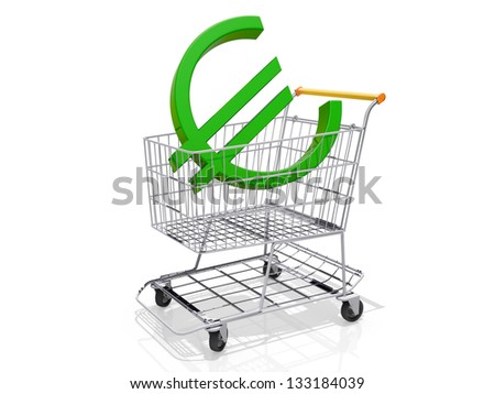 A Grocery shopping cart with a Euro Sign on a white background.