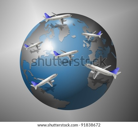 A group of airplanes flying all around the world / Airplanes and World