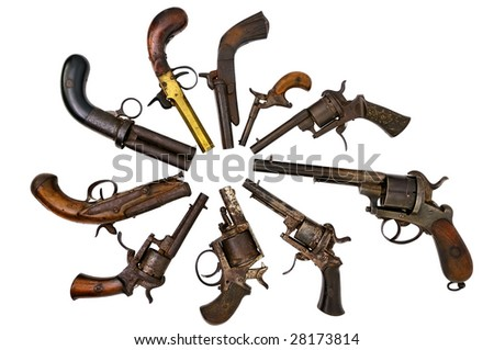 A group of ancient pistols - stock photo