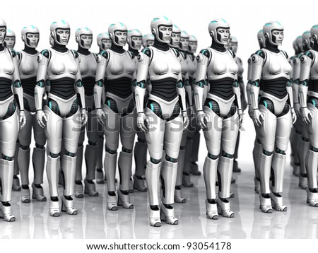 A group of android woman standing in rows, eyes closed.
