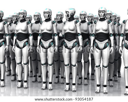A group of android woman standing in rows, eyes closed. One of the androids have woken up. - stock photo