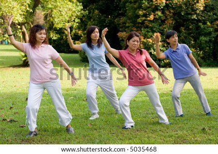 A group of asian ladies exercising in the park - stock photo
