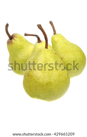 A group of Australian Grown Pears isolated on a white background - stock photo