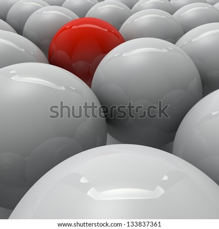 A group of balls grouped around the winners of the competition - stock photo