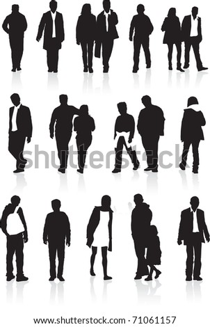 A group of black silhouettes, highly detailed of people in different walking positions - stock photo