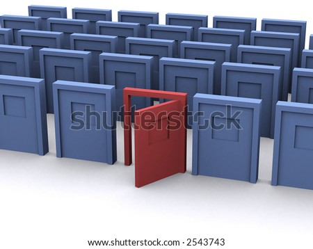 a group of blue doors with a red one being open - stock photo
