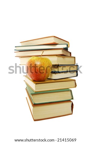 A group of books and one apple on the white background