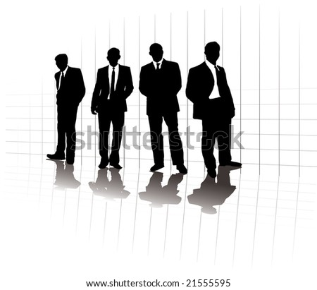 A group of business men in a line up on a grid