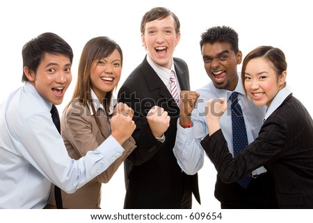 A group of business people celebrate their team success - stock photo