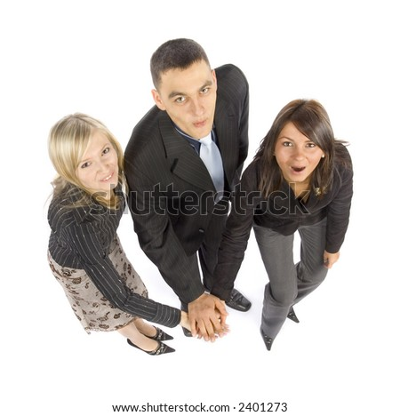 A group of business people motivate themselfs - stock photo