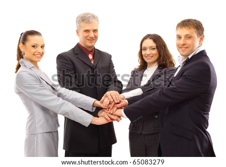 A group of business people shanking hands - stock photo
