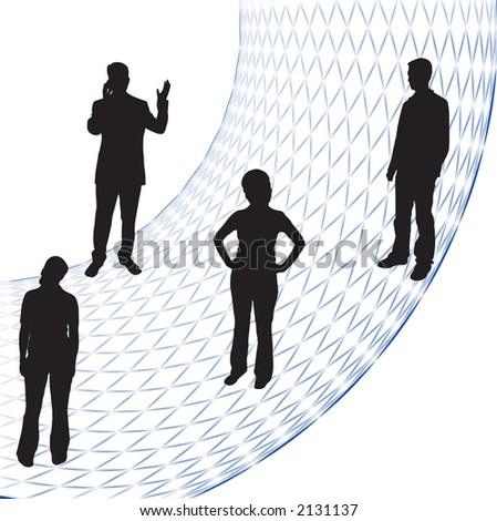 A group of business people silhouettes - stock photo