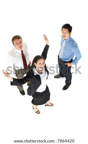 A group of business people standing together, shot from above
