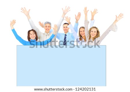 A group of business people to conduct advertising. Isolated on a white background. - stock photo