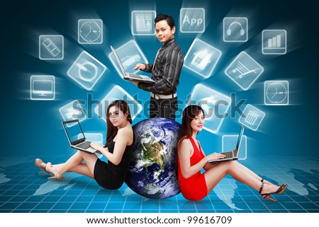 A group of business team against to the icons explode : Elements of this image furnished by NASA - stock photo