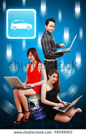 A group of business team present the Car icon : Elements of this image furnished by NASA - stock photo