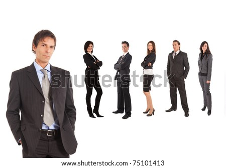 A group of businessmen and businesswomen isolated on white. - stock photo