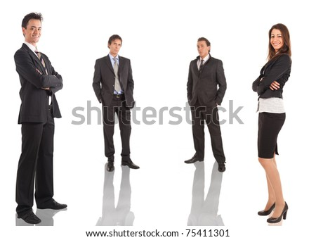 A group of businessmen and businesswomen isolated on white.