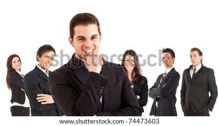 A group of businessmen and businesswomen, their leader is on the front - stock photo