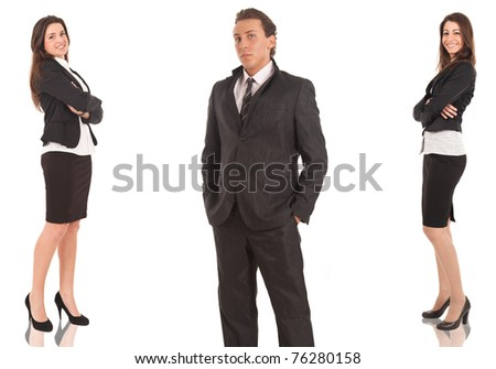 A group of businessmen and businesswomen, their leader is on the front. Isolated on white. - stock photo