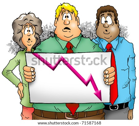 A group of businesspeople showing a very disappointing sales chart - stock photo
