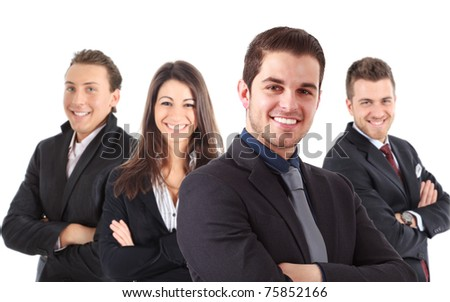 A group of businesspeople, their leader is on the front. Isolated on white. - stock photo