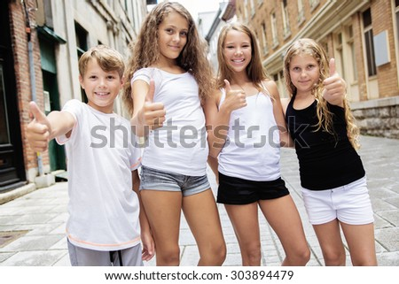 A Group of child in urban street