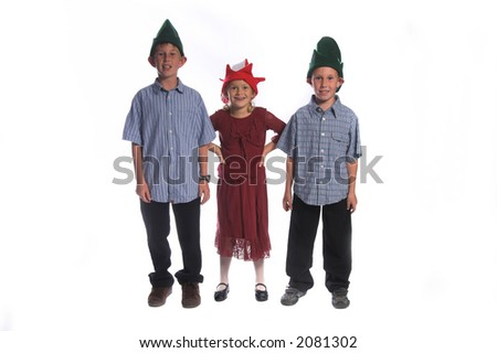 A group of children in elf hats waiting for Santa Claus