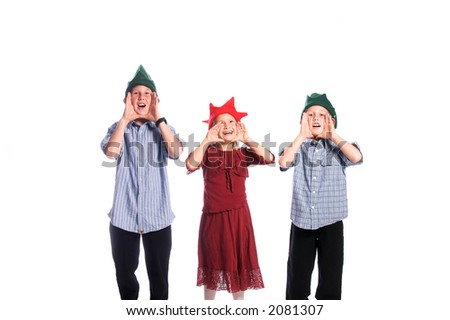 A group of children in elf hats with their hands cupped around their mouths calling Santa Claus