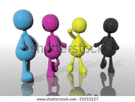 A group of cmyk people - stock photo