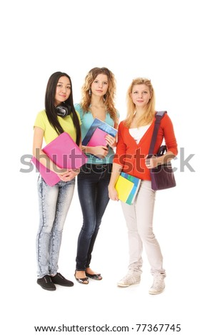 A group of college friends, a full-length portrait - stock photo