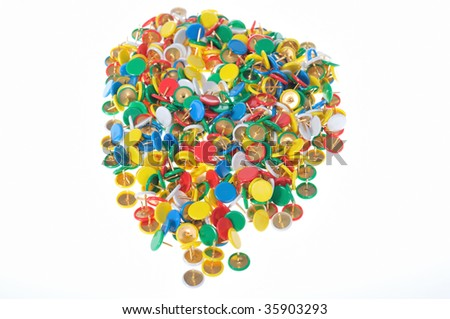 A group of color pins for office or home