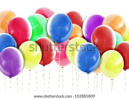 A group of colorful balloons are on a isolated white background which can represent a birthday, anniversary or celebration event. Add your text for a happiness concept.