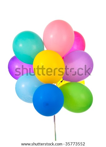 A group of colorful balloons on a white background - stock photo