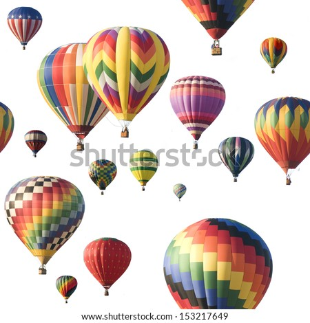 A group of colorful hot-air balloons floating against a white background. Image is seamlessly tileable.