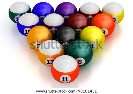 A group of colorful pool balls on a white background