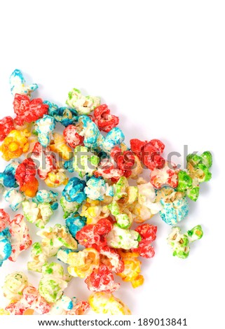 a group of colorful popcorn on white  - stock photo