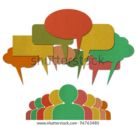 A group of Communication Network Social Media Business People talk in colorful speech bubbles - stock photo