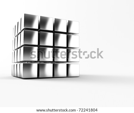 A group of cubes on a white background - stock photo
