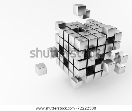 a group of 3d maded Cubes - stock photo
