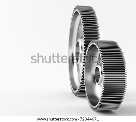 a group of 3d maded gears on a grey background. - stock photo