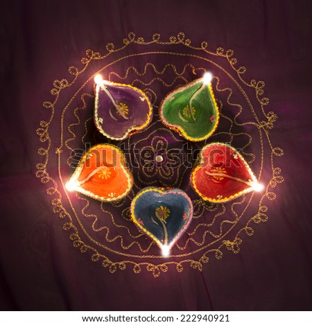 A group of decorative Indian Diwali lamps - top view. - stock photo