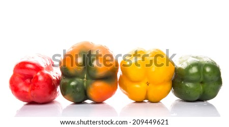 A group of different colorful capsicum over white background