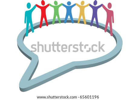 A group of diverse social media people gather inside a network speech bubble holding hands up. - stock photo
